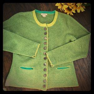 Sundance Green Wool Cardigan